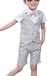 Shengwan 4-częściowy dziecięcy garnitur chłopięcy na lato wesele garnitur kamizelka + koszula z krótkim rękawem + krótkie ...