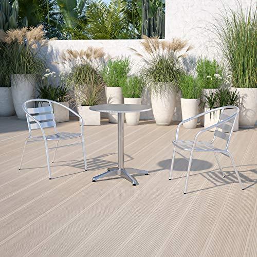 Flash Furniture Mesa Redonda de Aluminio de 23.5 Pulgadas para Interiores y Exteriores con Base