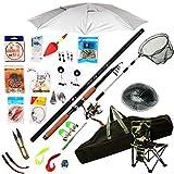 WLC Sea Fishing Set Kit Equipos de Pesca con el Giro del Recorrido de Rod del Carrete Combos Línea señuelos Ganchos de Arranque del Sistema Completo Profesional Ligera caña de Pescar y Carrete Combos