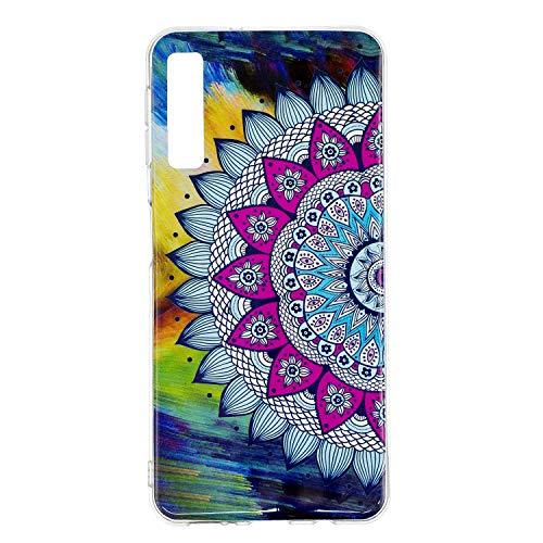Nadoli Leuchtend Hülle für Samsung Galaxy A50,Fluoreszierend Licht im Dunkeln Weich Dünn Gummi Rückseite Handytasche Stoßfest Flexibel Schutzhülle Case,Mandala Blume