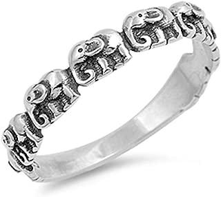Oxford Diamond Co Oxidize Plain Elephant .925 Sterling Silver Ring Sizes 3-12