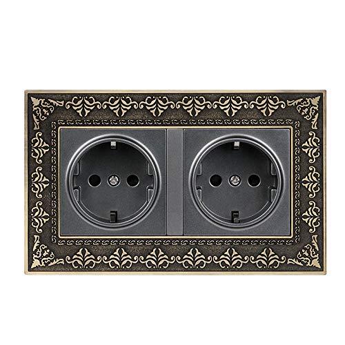 wkd-thvb Enchufe estándar de 16 A, doble enchufe europeo 4D, placa de aleación de zinc, 16 A, enchufe 146 x 86 tipo 146 Grey Socket
