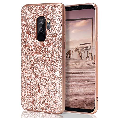 ZCXG Kompatibel für Samsung Galaxy S9 Plus Hülle Glitzer Slim Hülle Silikon Bling Strass Mädchen Frau Schutzhülle TPU Bumper Case Tasche Handyhülle für Galaxy S9 Plus Rose Gold