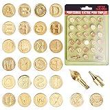 GORGECRAFT 28 puntas para tallar el alfabeto de hierro para grabado, moldes de grabado, herramientas de grabado en relieve, manualidades, color dorado mate