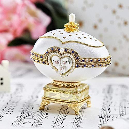 CNMNMC Carving Intaglio Uovo Carillon Carillon portagioie Amiche Uomini e Donne Amiche fidanzate Bambini Regalo di Compleanno di Compleanno - portagioie Bianco + Musica: la Città del Cielo