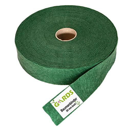 Gards® Baumanbinder – Vliesband – Gartenschnur, 25 Meter, atmungsaktiv, luftdurchlässig, witterungsbeständig, 100% aus Österreich, 50 mm breit, 200g/m² grün