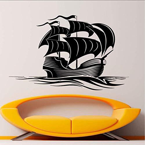 68X42 Cm Seeschiff Aufkleber Segelschiff Art Vinyl Segelboot Dekor Galeone Boot Wandbilder Für Wohnzimmer Diy Dekoration