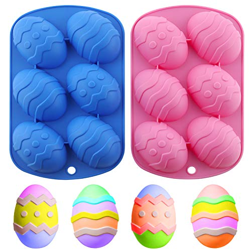 Amurgo Easter Egg Chocolate Silicone Mold 6Cavity Nonstick Easter Egg Shaped Silicone Molds for Easter Chocolate Hot Chocolate Cocoa Bombs Party Jelly Ice Cube Soap  Pink Blue 2 Packs
