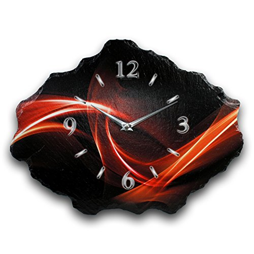 Kreative Feder Abstrakt Luxus Designer Wanduhr Funkuhr aus Schiefer *Made in Germany leise ohne Ticken WS216FL