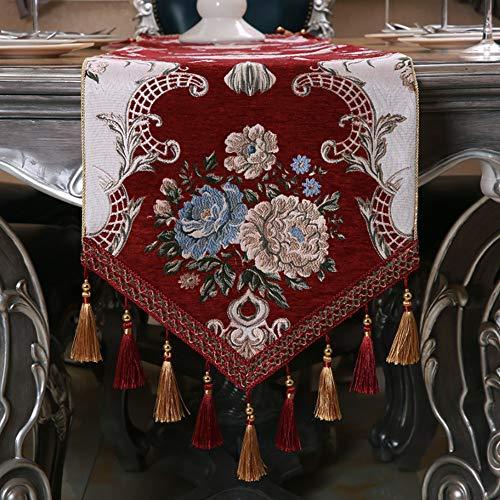 Tafelloper, loper, tafelkleed, tafelloper, met kwastjes, voor tafelloper op feest, bruiloft, banket, tafel, lay-out of decoratie - 35 x 240 cm