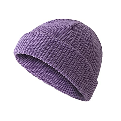 LULUZ Women's Stylish Classic Cap Beanie Winter Warm Plus Velet Thick Cap Baggy Solid Color Soft Comforty Good Choice Light Purple