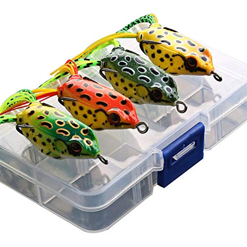 G.S YOZOH Frog Lures Topwater, Bass Fishing Lures Soft Swimbait Baits with Tackle Box for Bass Trout Snakehead Salmon, Pack of 4