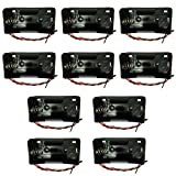 TrendBox Pack of 10pcs For 1xD Battery 1.5V Black Plastic Storage Case Holder Clip Type with 6' Two Wire 22AWG Spring Lead Flat Tip Container DIY