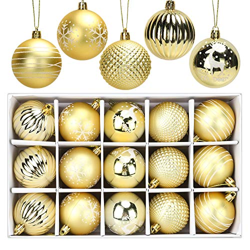 ANWING 15ct Christmas Ball Ornaments 2.36' Shatterproof Decorative Tree Xmas Balls Plastic Decorations Balls Baubles Perfect for Holiday Wedding Party Xmas Decoration (Gold)
