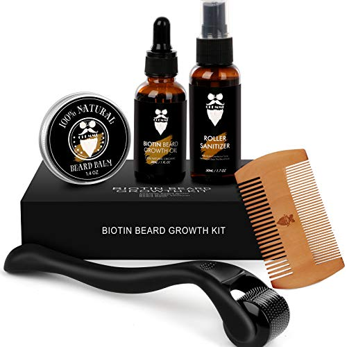 Beard Growth Kit Derma Roller with Biotin Beard Growth Oil Serum, Derma Roller Natural Beard Oil for Men Patchy Beard Growth with Beard Roller Cleanser and Comb