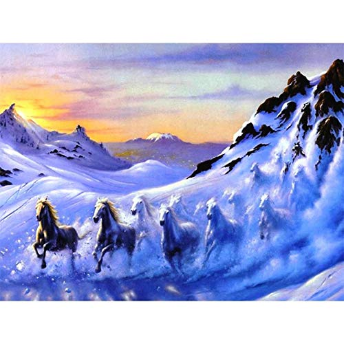 2000 piezas de rompecabezas para adultos, rompecabezas de gran formato, caballos corriendo bajo la montaña nevada, piezas de rompecabezas que encajan perfectamente, regalo personalizado, ideal para r