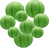 ADLKGG Round Hanging Paper Lanterns Decorations for Party Wedding Birthday Baby Showers Christmas Supplies, Green 12'', 10'', 8'', 9 Pack