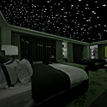 Realistic 3D Domed Glow in The Dark Stars,606 Dots for Starry Sky, Perfect for Kids Bedding Room Gift(606 Stars) (Green)