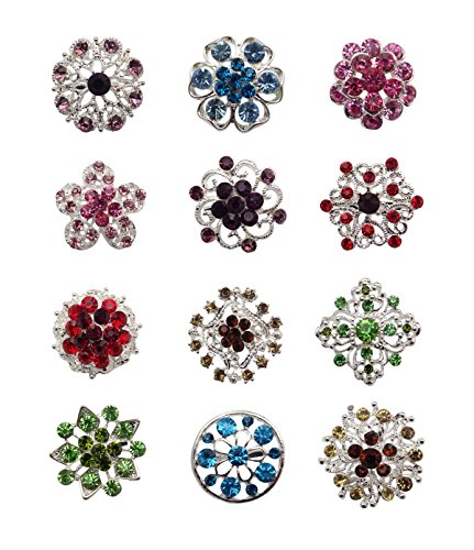 Tooky 12PCS mix set Crystal Button spille sciarpe fibbia Floriated spilla pin strass corpetto bouquet kit lotto all' ingrosso, placcato argento, colore: color, cod. B-002
