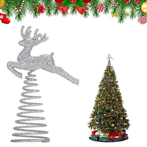 KATELUO Puntale per Albero di Natale, Punta Albero di Natale Argento,Natale a Forma di Stella Glitterata, per la Decorazione dell'albero di Natale e la Decorazione Domestica, Bar, Hotel, Ristorante
