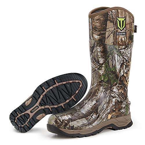 TIDEWE Rubber Hunting Boots, Waterproof Insulated Realtree Xtra Camo Warm Rubber Boots with 6mm Neoprene, Durable Outdoor Muck Hunting Boots for Men (Size 9)