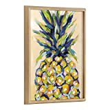 Kate and Laurel Blake Pineapple Study No 2 Framed Printed Wood Wall Art by Rachel Christopoulos, 18x24 Natural, Whimsical Fruit Art for Wall