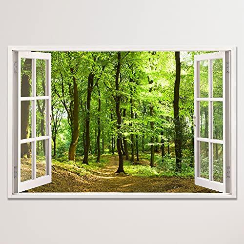 Leinwandbild mit Fensterblick - Druck auf Canvas Leinwand - moderner Kunstdruck - XXL Wandbild – Fenster mit Ausblick - Keilrahmen mit Druck (Wald, 60 x 40 cm)