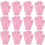 Cooraby 12 Pairs Kid's Winter Magic Gloves Children Stretchy Warm Magic Gloves Boys or Girls Knit Gloves (Light Pink)