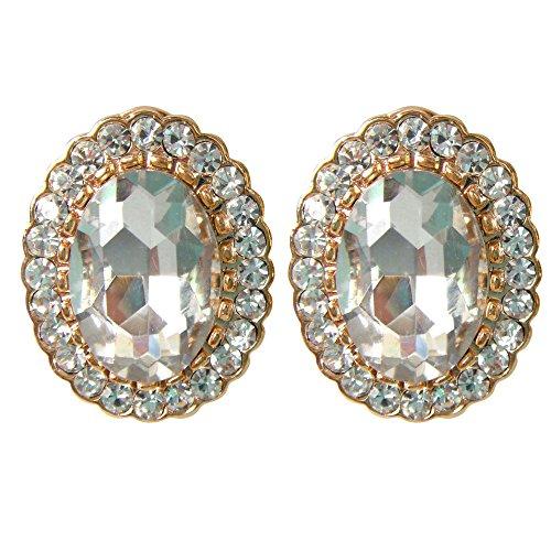 Navachi 18k Gold Plated Oval Clear Zircon Crystal Omega Earrings