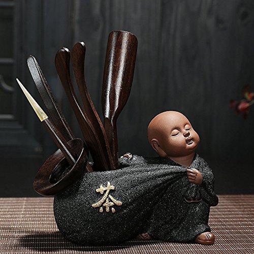 KEQB Kungfu Theeset, Zwart Aardewerk, Paarse Zand Thee, Favoriete Accessoires, Ebony, Kleine Monnik Thee Ceremonie, Zes Heren pak Black Pottery Monk (Tea) (Including Six