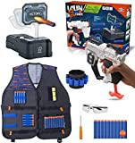 Surper Tactical Vest Kit for Nerf Gun with Blaster Toy Guns, 10 Darts, Digital Target, Hand Band and Protective Glasses for Kids for Boys Girls