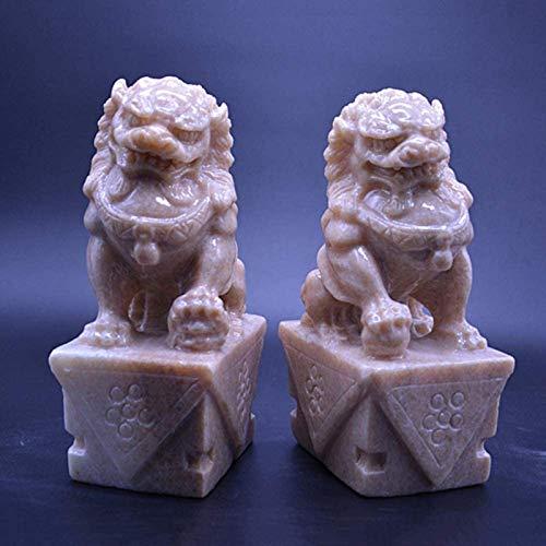 Attrezzatura Vivente Grandi Leoni di Pechino Coppia Fu Foo Cani Statue (Una Coppia) Pietra Cinese Feng Shui Decor Prosperità Accessori Figurina Casa e Ufficio Scultura da Giardino H20cm / 7,9 polli