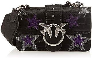 Pinko Mini Love Stars 2 C/spallaccio Vitello St.zebra,女式单肩包,黑色(天蓝色),7x11x20 厘米(宽 x 高长)