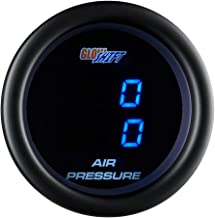 GlowShift Black 7 Series Dual Digital 220 PSI Air Pressure Gauge Kit - for Air Ride Suspension Systems - Includes 2 Electronic Sensors - Blue LED Display - Clear Lens - 2-1/16