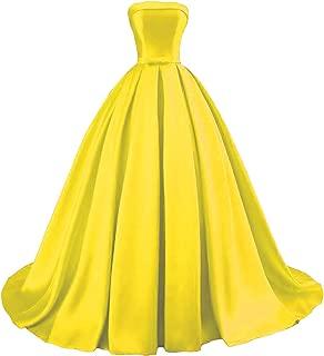Women's Strapless Ball Gown Satin Prom Dresses 2019 Long Evening Formal Dresses
