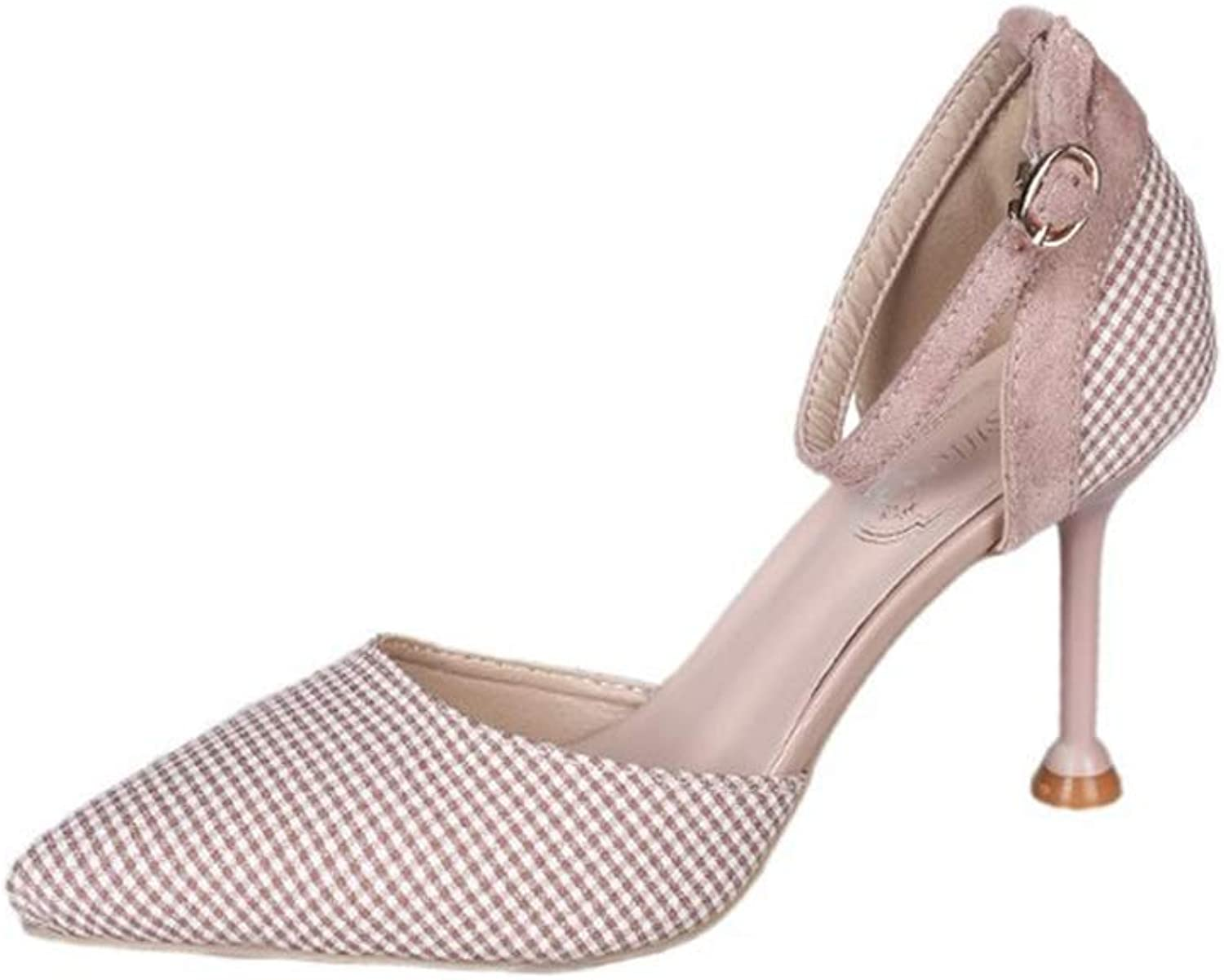 FLourishing Women's Simple Closed Toe Mid Heel shoes with Lattices Professional Buckle Sandals