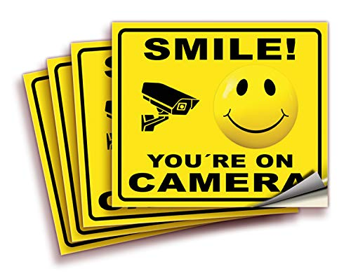 Smile You're On Camera Signs Stickers � 4 Pack 7x6 Inch � Premium Self-Adhesive Vinyl, Laminated for Ultimate UV, Weather, Scratch, Water and Fade Resistance, Indoor and Outdoor