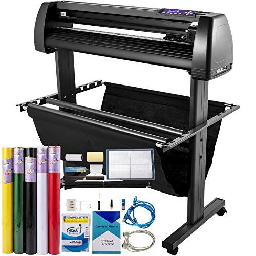VEVOR Vinyl Cutter Machine 870mm Vinyl Printer, 34 inch Plotter Printer U-Disk Offline with Accessories & Floor Stand Vinyl Cutting Machine Adjustable Force and Speed for Sign Making Plotter Cutter