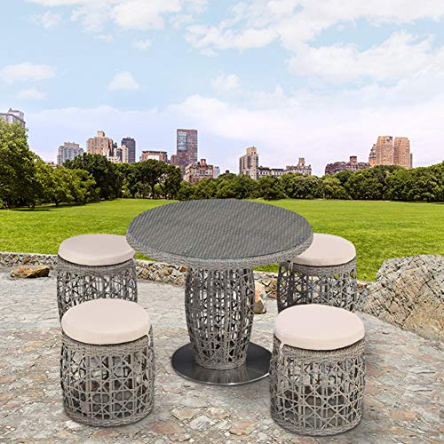 Hmcozy Outdoor Patio Furniture Sets, 5 Pieces Rattan Wicker Chairs, Garden Lawn Conversation with Cushioned and Glass Coffee Table for Lounge, Backyard Pool, Gray