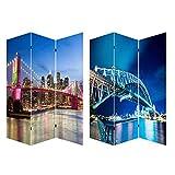 Home Line Biombo Separdor de ambientes, Puentes Brooklyn y Harbour Bridge, para Vestidor/Dormitorio. Bastidores de Madera. 120x180 cm.