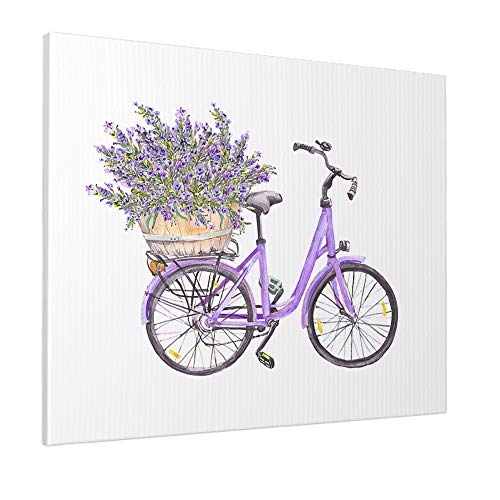 EKOBLA Bicycle Painting Violet Purple Bike With Lavender Flowers Bouquet In Basket Retro Decorative Wall Art for Bedroom Living Room Dorm Home Gift Cotton Canvas 16 x 20 Inch