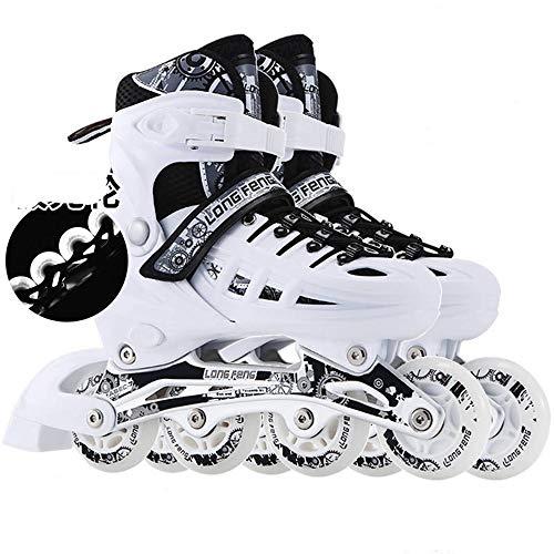 Xiaokang Inline-Schlittschuhe Erwachsene Rollschuhe Roller Skates Einstellbare Männchen und Weibliche Anfänger Kinder Inline-Skates,Weiß,L