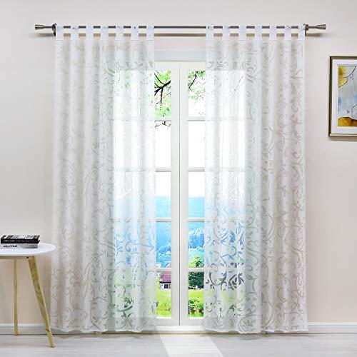 ESLIR Gardinen mit Schlaufen Vorhänge Ausbrenner Fensterschal Transparent Schlaufenschal mit Ranken Muster Weiß BxH BxH 140x245cm 1 Stück