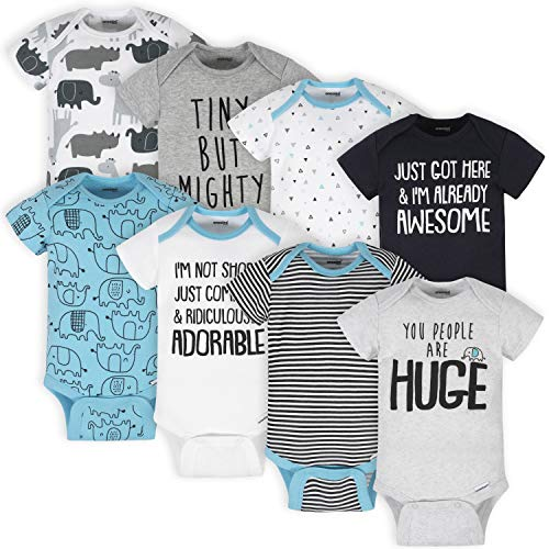 Onesies Brand Baby 8-Pack Bodysuits, White Elephant, 0-3 Months