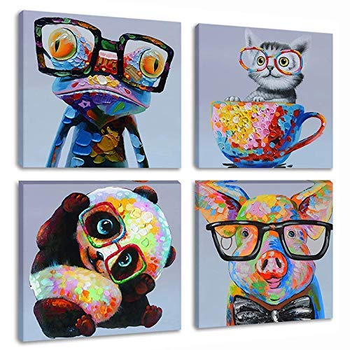 Skyme Art Modern Animal Canvas Print Wall Art Cute Panda Frog Cat Wear Glasses Painting Artwork 4 Panles Picture for Bedroom Kids Room Decoration