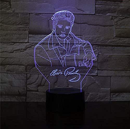 Luz de noche de ilusión 3D 7 colores de visión LED Sensor de Aaron Niño Niños El rey Singer Mesa Decoración de dormitorio Regalo creativo colorido Control remoto