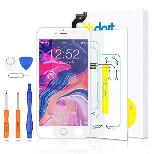 Yodoit para Pantalla iPhone 6s Plus Blanco, Conjunto de Pantalla LCD y digitalizador Reemplazo de la Pantalla táctil de Vidrio con Marco + Kit de Herramientas de reparación (5,5 Pulgadas)
