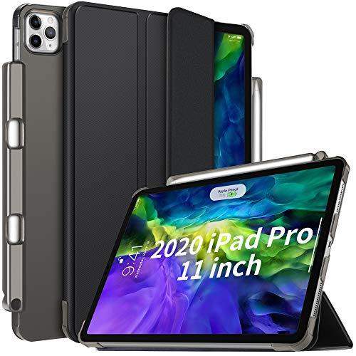 IVSO Schutzhülle für iPad Pro 27,9 cm (11 Zoll) 2020 2. Generation mit Stifthalter, dünn, hart, durchscheinend, mattiert, Smart Cover – Auto Sleep/Wake + praktischer Magnetständer, Schwarz