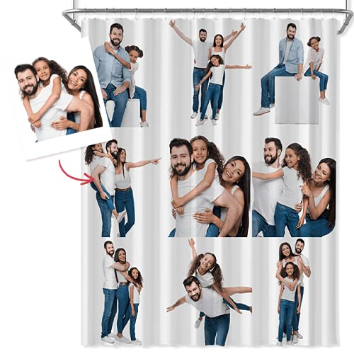 Cortinas Personalizadas de Baño Antimoho y Lavables, Cortina Ducha Personalizada con Foto, Cortina Ducha Divertida de Poliéster Impermeable 168*183cm