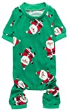 Cute Santa Claus Pet Clothes Christmas Dog Pajamas Shirts, Green, Back...